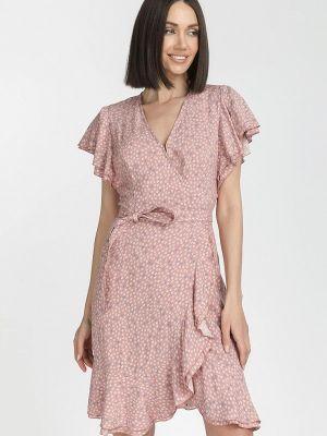 Розовое платье с запахом Gloss