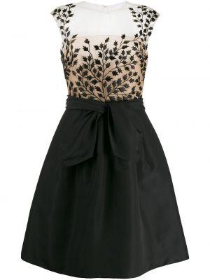 Шелковое черное коктейльное платье с вышивкой Oscar De La Renta