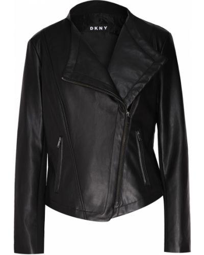 Кожаная куртка черная на молнии Dkny