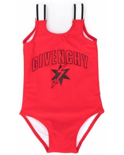Слитный купальник с принтом красный Givenchy Kids