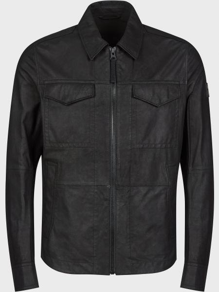 Кожаная куртка на молнии - черная Hugo Boss