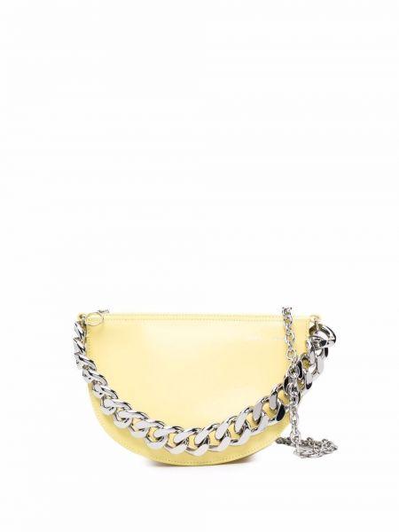Torebka na łańcuszku srebrna - żółta Kara