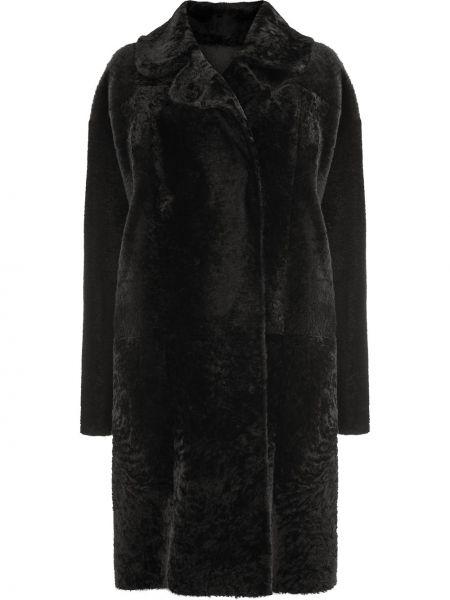 Черная кожаная длинное пальто двусторонняя Drome