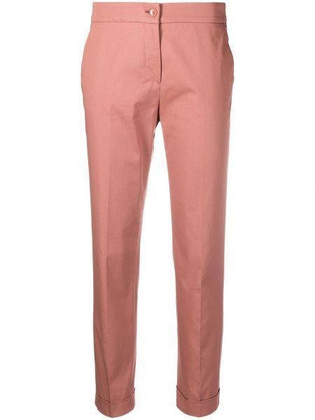 Хлопковые розовые укороченные брюки на молнии Etro