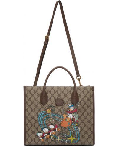 Brązowy skórzany torba na ramię z kieszeniami z klamrą Gucci