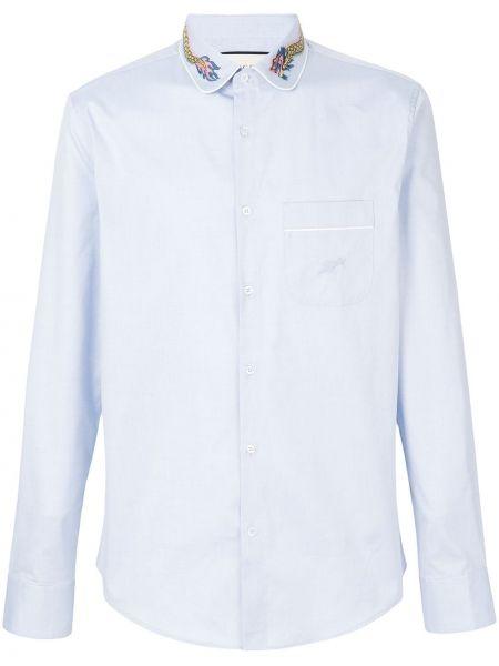 Niebieska koszula bawełniana z haftem Gucci