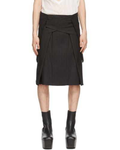 Черная юбка для полных с карманами Rick Owens