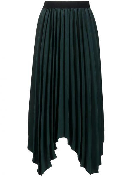 Bawełna jedwab zielony asymetryczny spódnica plisowana Isabel Marant