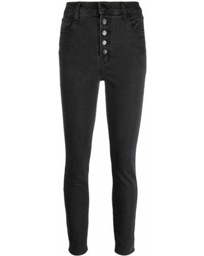 Черные укороченные джинсы с высокой посадкой на пуговицах J Brand