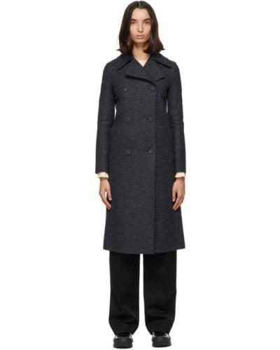 Синее шерстяное длинное пальто с воротником Harris Wharf London