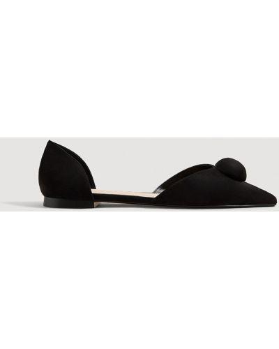 Балетки с острым носком черные Mango