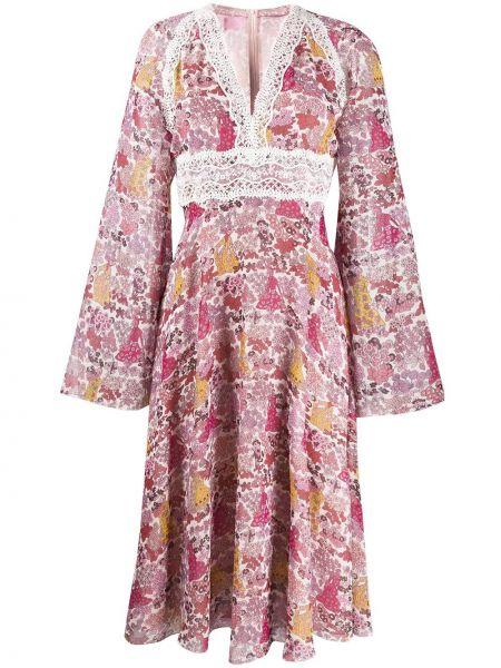 Sukienka długa rozkloszowana koronkowa z długimi rękawami Giamba
