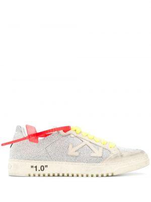 Кожаные кроссовки с логотипом с глиттером Off-white