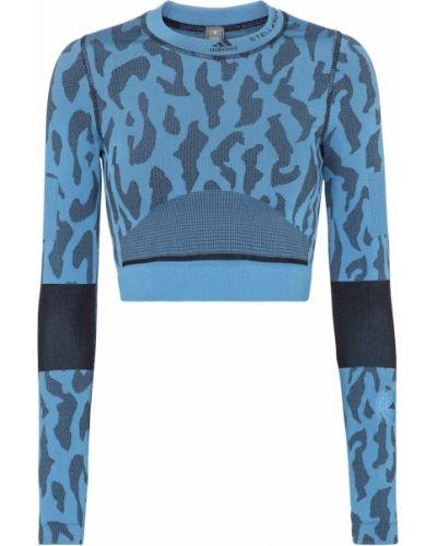 Нейлоновый синий кроп-топ Adidas By Stella Mccartney