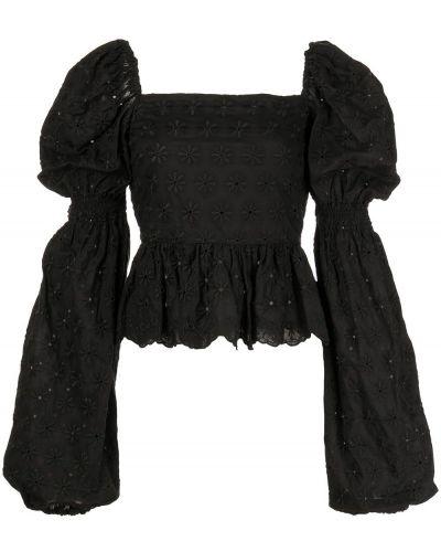 Черная блузка с вышивкой с вырезом Caroline Constas