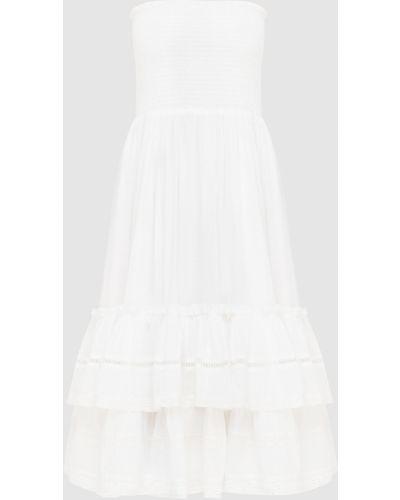 Кружевное белое платье миди с оборками Twin-set