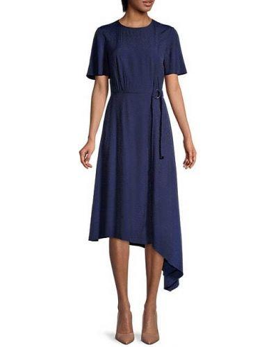 Расклешенное синее платье миди из вискозы Ted Baker London