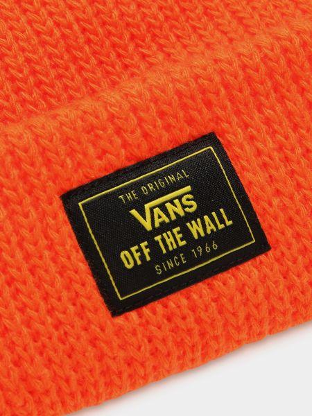 Оранжевая трикотажная шапка бини с отворотом Vans
