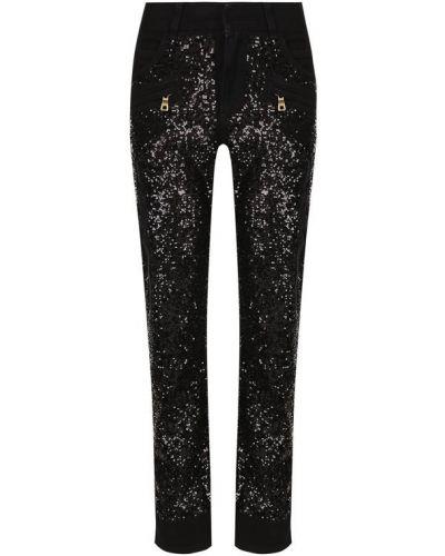 Укороченные брюки с пайетками Balmain