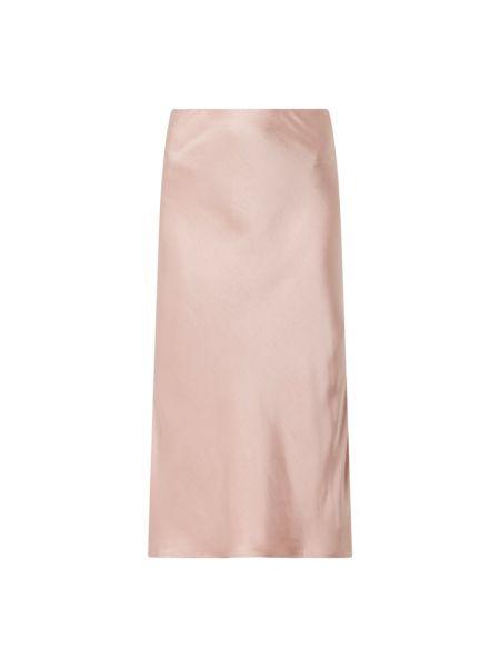 Satynowa różowa spódnica midi rozkloszowana Y.a.s