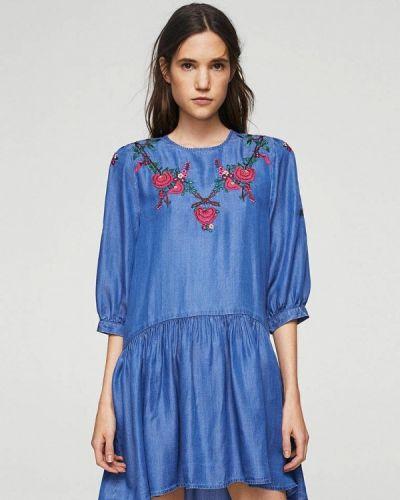 Синее платье прямое Mango