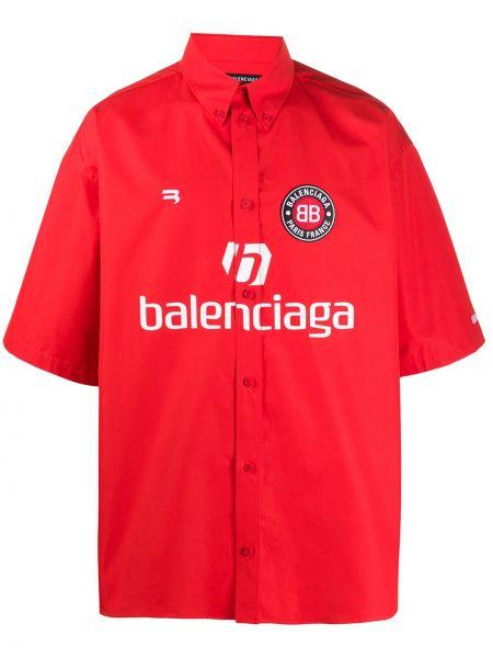Klasyczny bawełna koszula klasyczna z kołnierzem krótkie rękawy Balenciaga