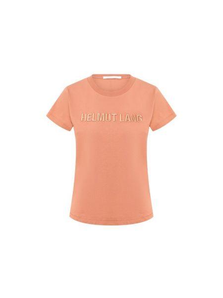 Хлопковая футбольная прямая футболка с вышивкой Helmut Lang