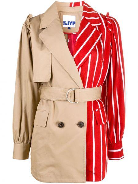 Нейлоновое бежевое длинное пальто с воротником с карманами Sjyp
