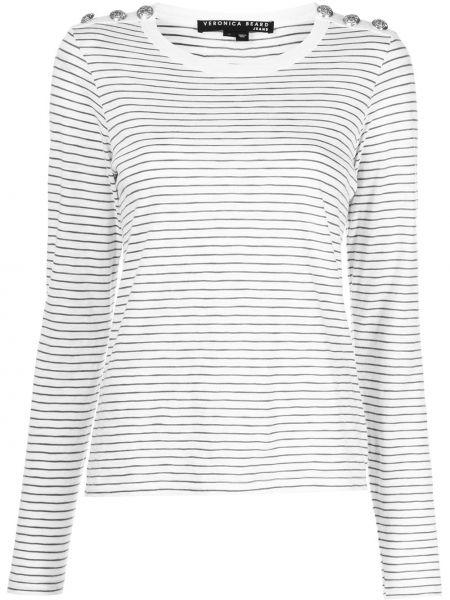 Хлопковая белая футболка с длинными рукавами Veronica Beard