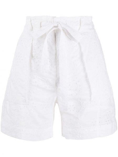 Białe szorty z wysokim stanem bawełniane Polo Ralph Lauren