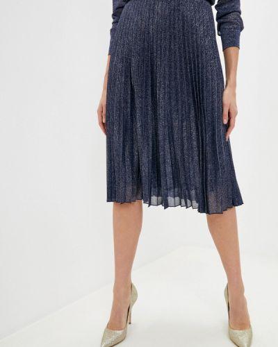 Плиссированная синяя плиссированная юбка Max&co