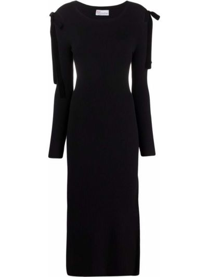 Черное платье миди из вискозы с бантом Red Valentino