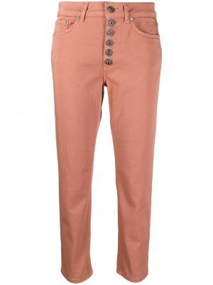 Розовые прямые укороченные джинсы на пуговицах Dondup