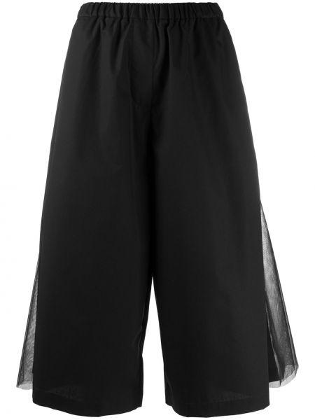 Хлопковые черные расклешенные брюки с поясом Paskal