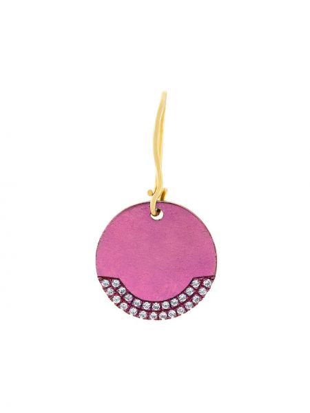 С цирконием розовые серебряные серьги круглые с подвесками Eye M By Ileana Makri