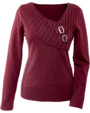 Пуловер с V-образным вырезом в рубчик Bonprix