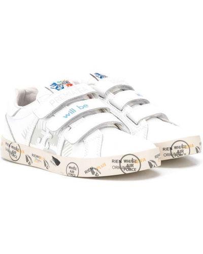 Кожаные белые кроссовки на липучках с надписью Premiata Kids