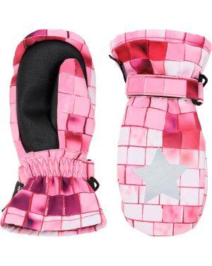 Różowe ciepłe rękawiczki z printem Molo