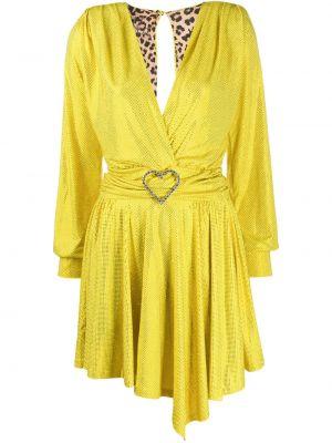 Приталенное желтое платье макси с вырезом Philipp Plein
