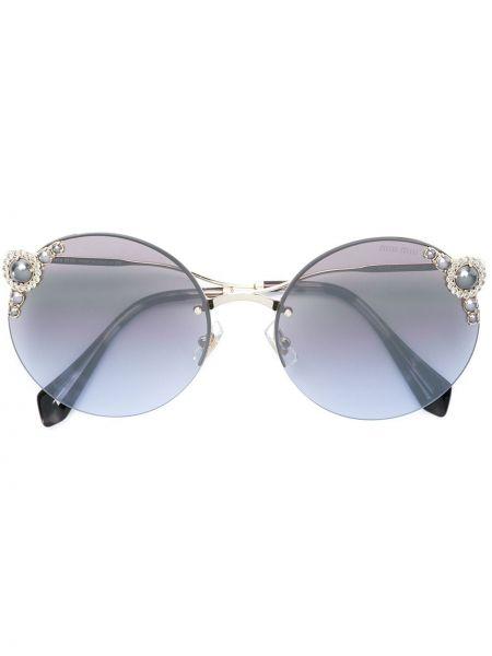 Солнцезащитные очки круглые металлические хаки Miu Miu Eyewear