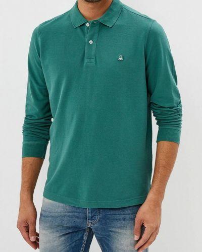 Зеленое поло с длинным рукавом United Colors Of Benetton