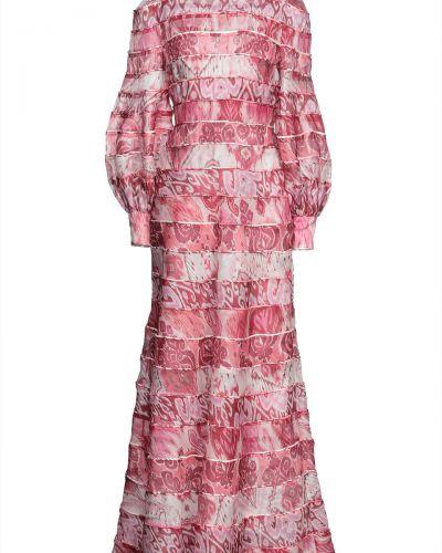 Розовое текстильное платье макси Zimmermann