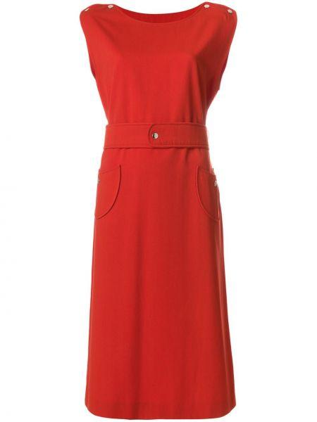 Красное платье миди винтажное из вискозы с поясом Courrèges Pre-owned