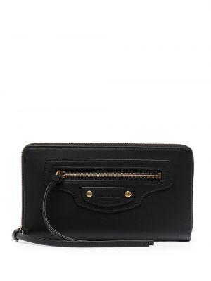 Черный кожаный кошелек с карманами Balenciaga
