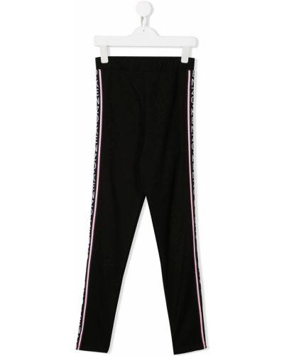 Czarne legginsy z wiskozy z printem Kenzo Kids