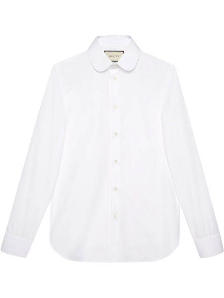 Biały bawełna koszula z mankietami z kieszeniami Gucci