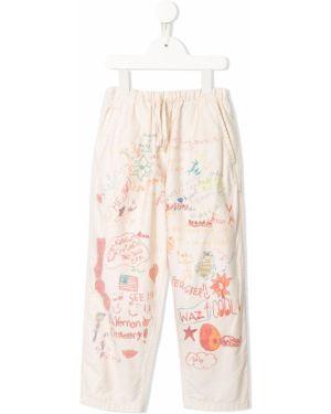 Прямые хлопковые розовые брюки с поясом Denim Dungaree
