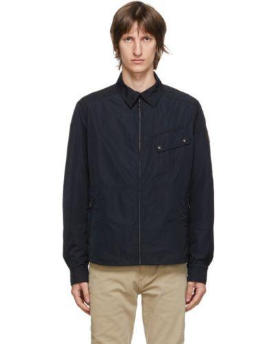 Czarny długa kurtka z mankietami z łatami z długimi rękawami Belstaff