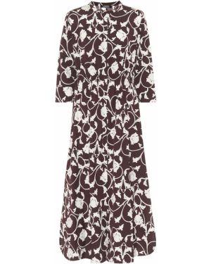Ватное хлопковое коричневое платье миди 's Max Mara