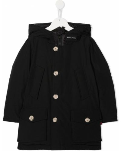 Пуховая классическая черная куртка с капюшоном на пуговицах Woolrich Kids